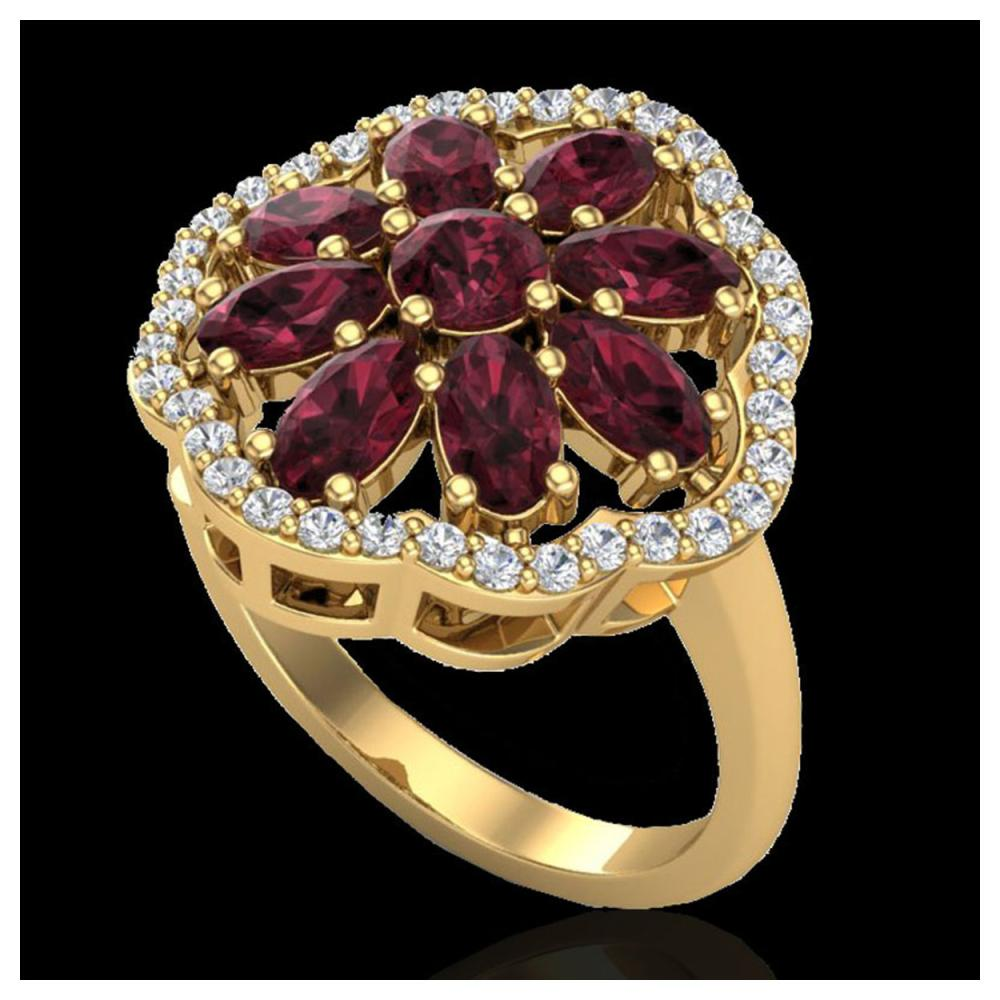 3 ctw Garnet & VS/SI Diamond Cluster Ring 10K Yellow Gold - REF-63M6F - SKU:20783