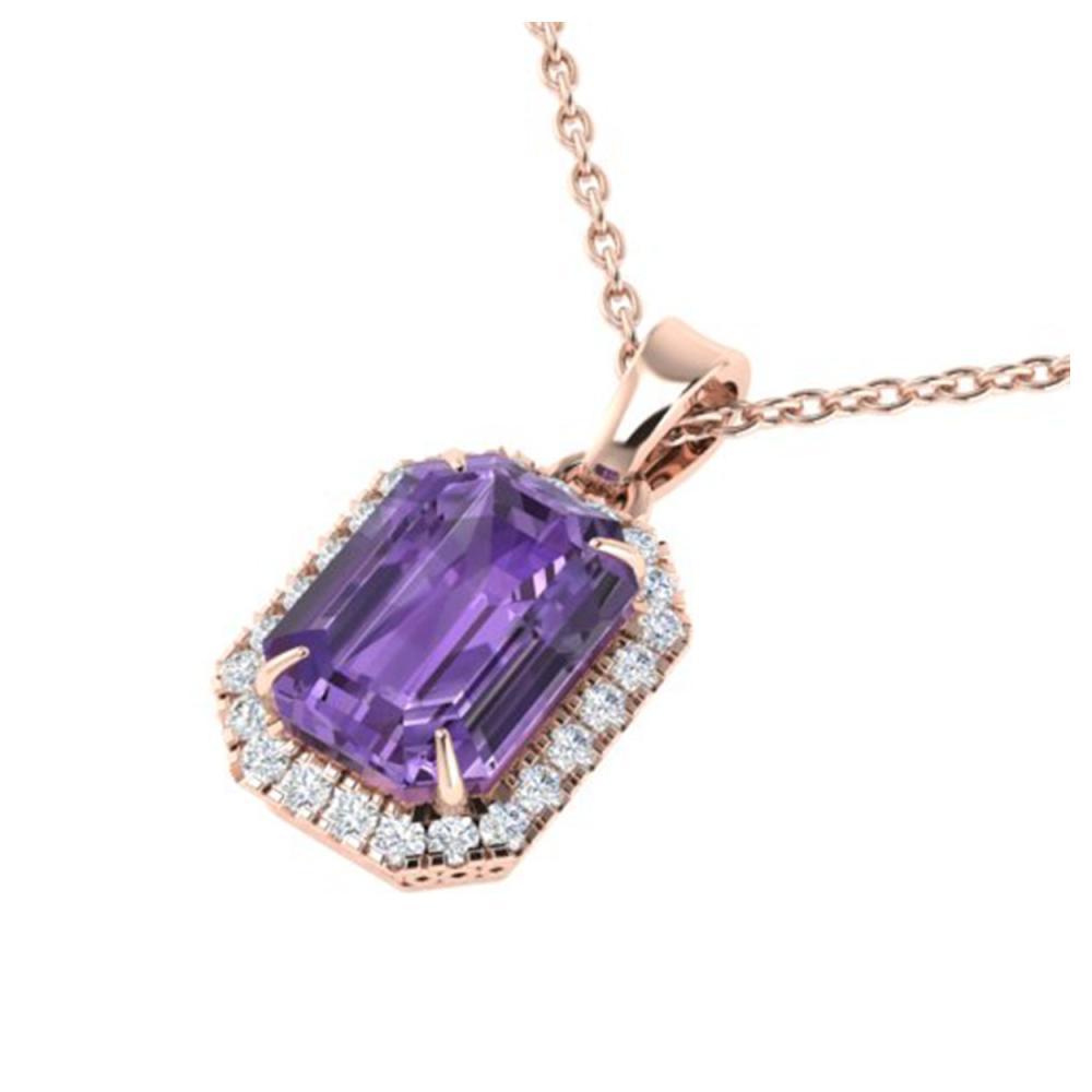 5 ctw Amethyst & VS/SI Diamond Necklace 14K Rose Gold - REF-45W5H - SKU:21349