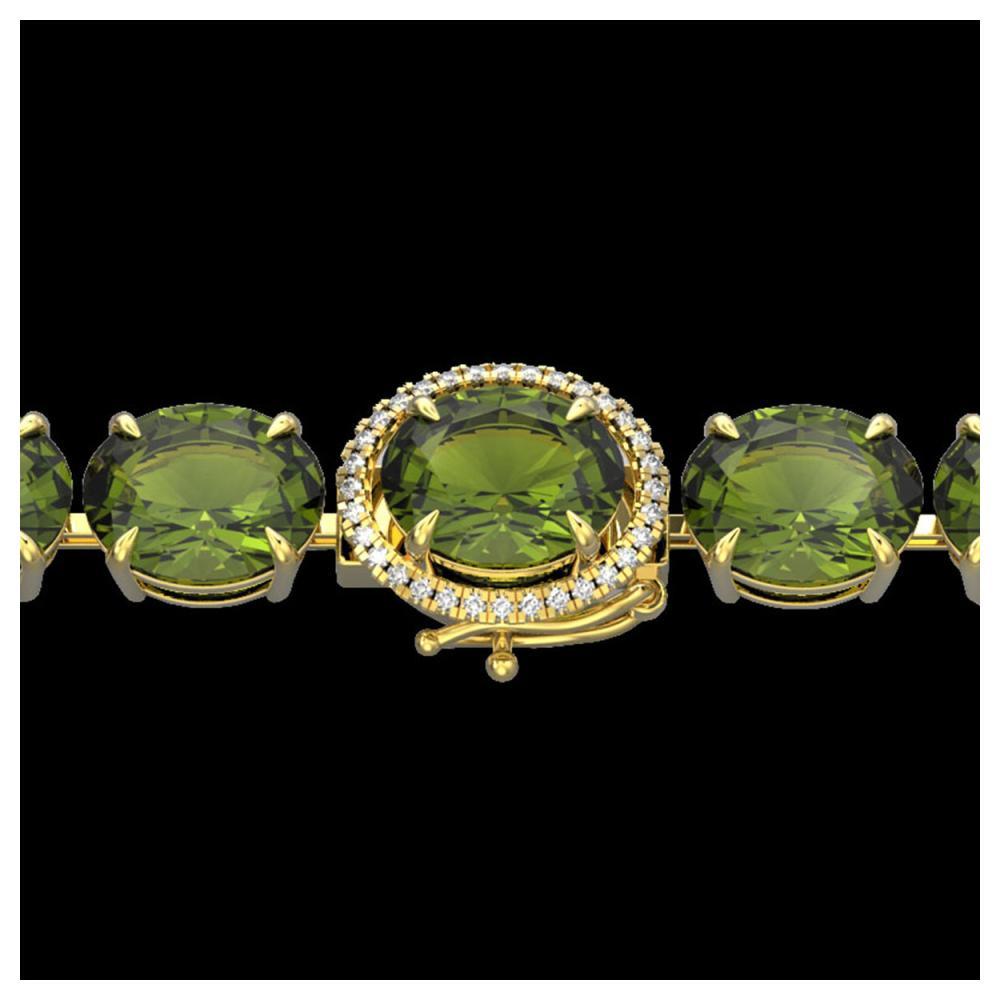 65 ctw Green Tourmaline & VS/SI Diamond Bracelet 14K Yellow Gold - REF-593R8K - SKU:22264