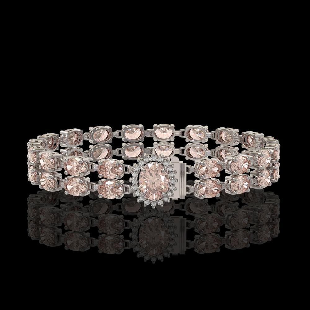 27.57 ctw Morganite & Diamond Bracelet 14K White Gold - REF-282R5K - SKU:45491