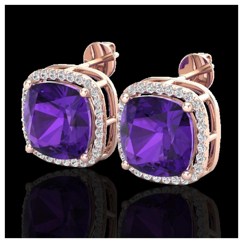 12 ctw Amethyst & VS/SI Diamond Earrings 14K Rose Gold - REF-78N2A - SKU:23056