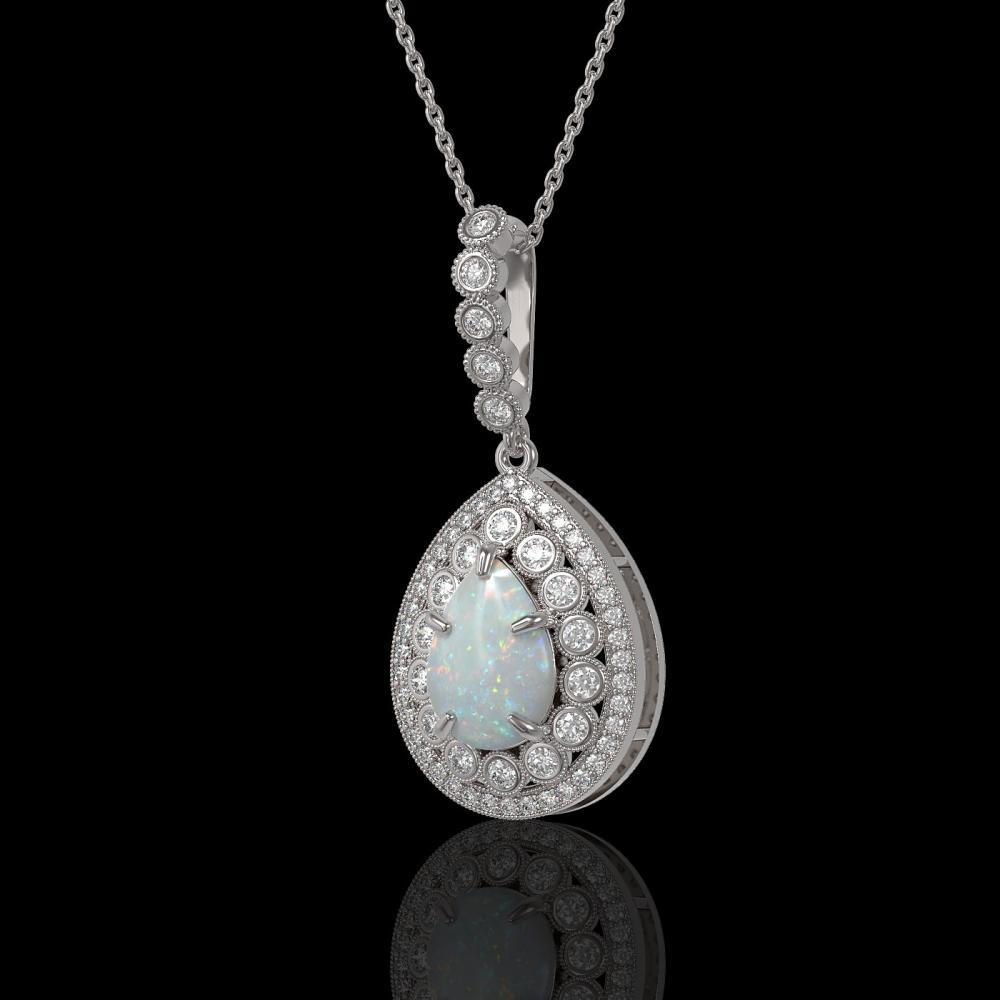 4.14 ctw Opal & Diamond Necklace 14K White Gold - REF-139M3F - SKU:43217