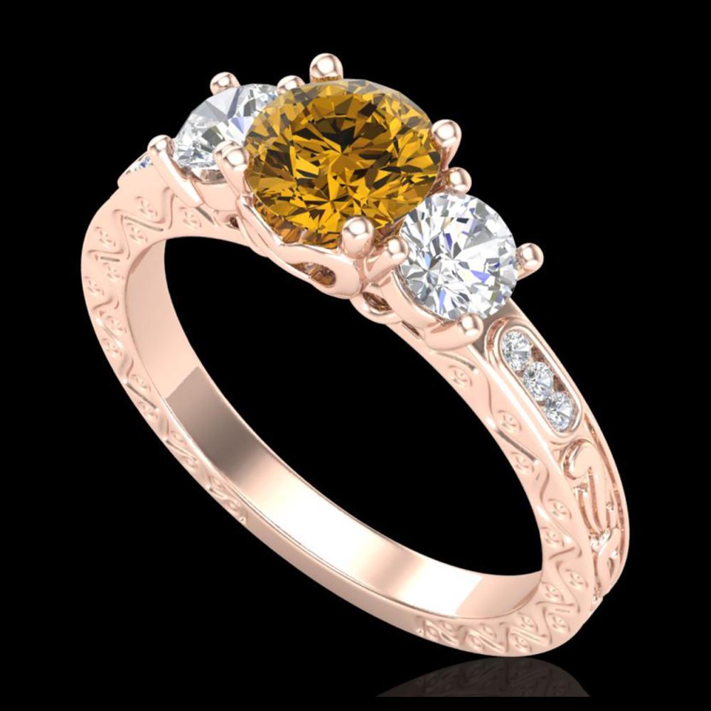 1.41 ctw Intense Fancy Yellow Diamond Art Deco Ring 18K Rose Gold - REF-180H2M - SKU:37764