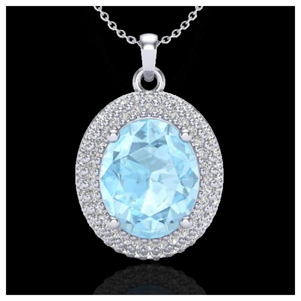 4 ctw Aquamarine & VS/SI Diamond Necklace 18K White Gold - REF-122X7R - SKU:20554