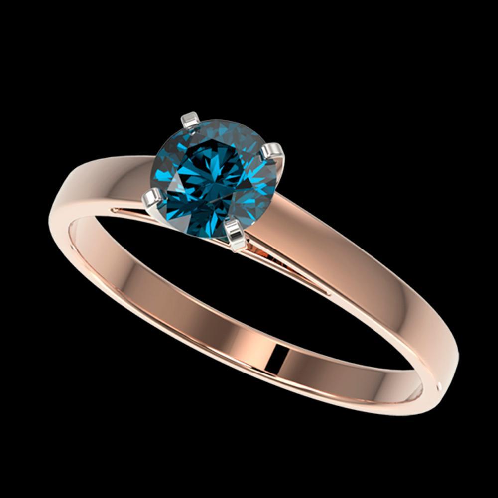 0.75 ctw Intense Blue Diamond Ring 10K Rose Gold - REF-70K5W - SKU:32978