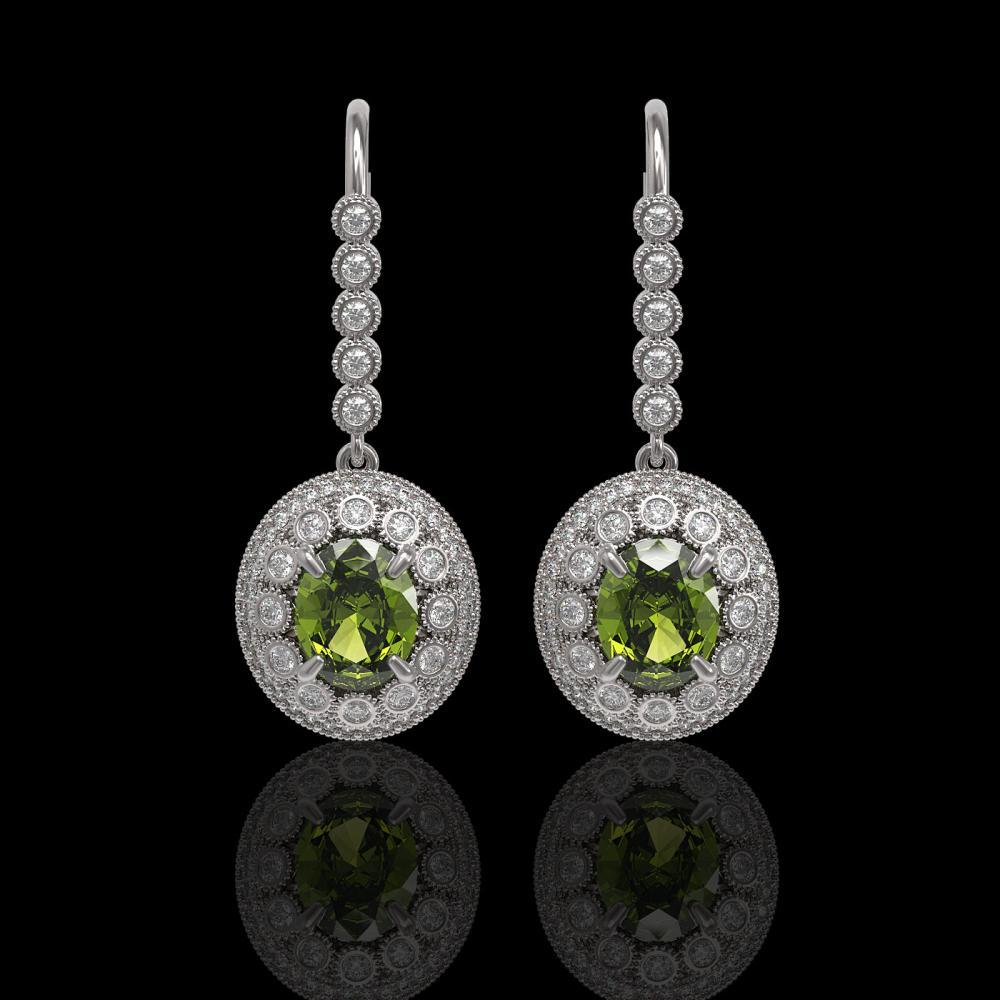 8.45 ctw Tourmaline & Diamond Earrings 14K White Gold - REF-250N7A - SKU:43622