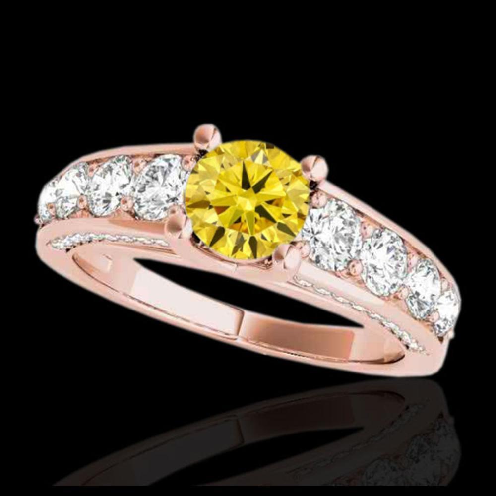 3.05 ctw SI/I Fancy Intense Yellow Diamond Ring 10K Rose Gold - REF-436F4N - SKU:35524