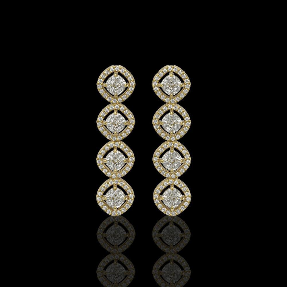 3.84 ctw Cushion Diamond Earrings 18K Yellow Gold - REF-337N5A - SKU:42982