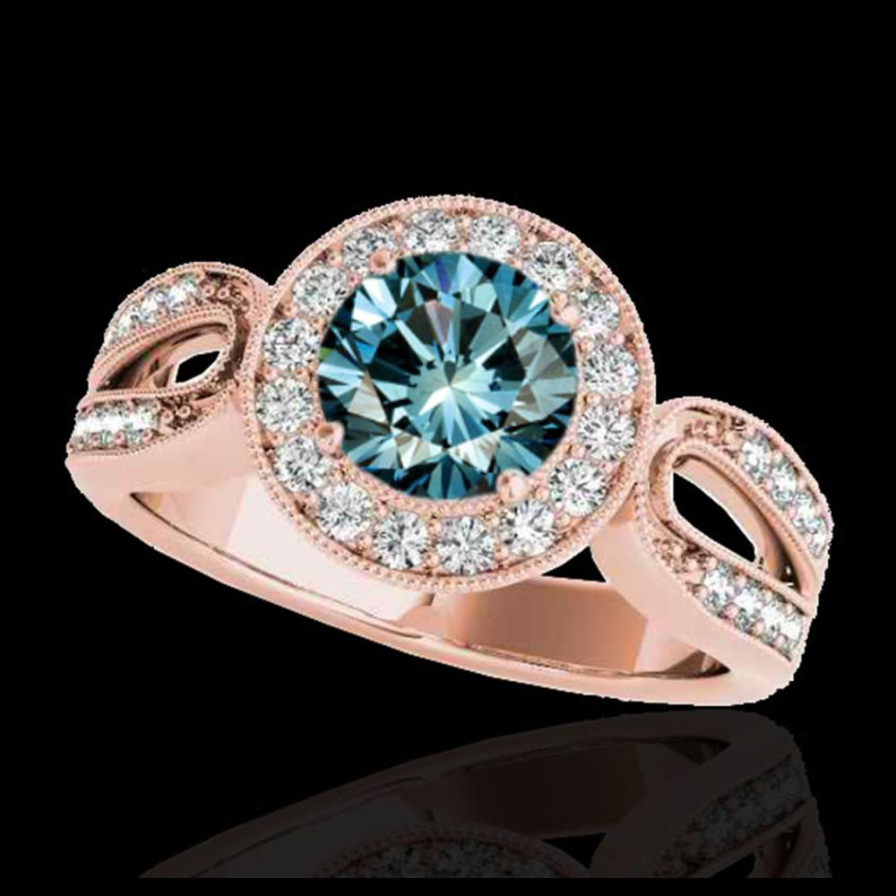 1.40 ctw SI Fancy Blue Diamond Solitaire Halo Ring 10K Rose Gold - REF-130W6H - SKU:34564