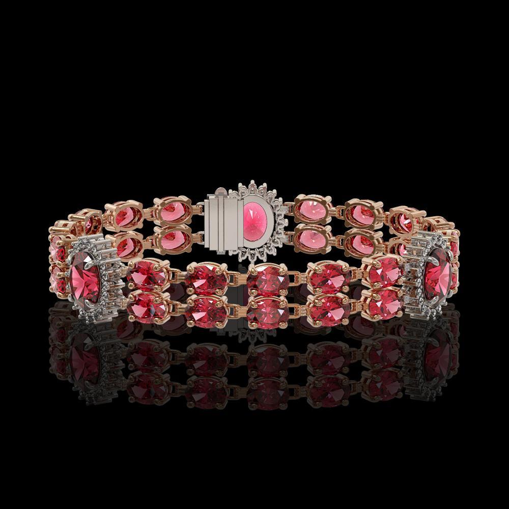 17.79 ctw Tourmaline & Diamond Bracelet 14K Rose Gold - REF-217X9R - SKU:44244