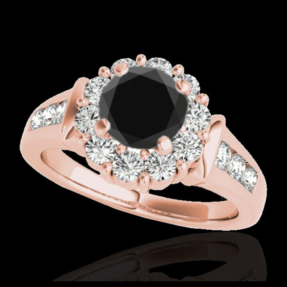 1.90 ctw VS Black Diamond Solitaire Halo Ring 10K Rose Gold - REF-76Y4X - SKU:34296