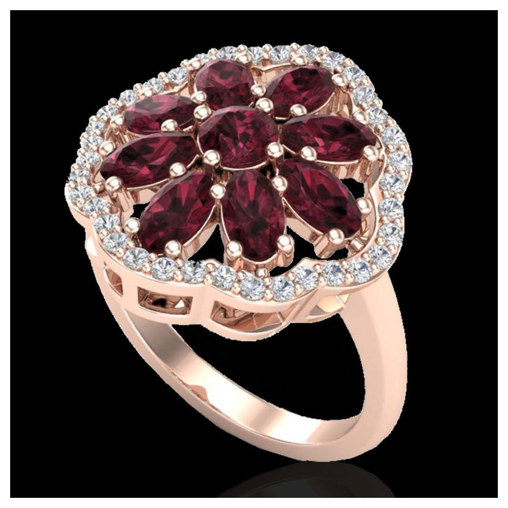 3 ctw Garnet & VS/SI Diamond Cluster Ring 10K Rose Gold - REF-63F6N - SKU:20781