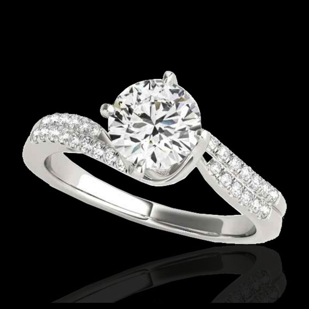 1.20 ctw H-SI/I Diamond Bypass Solitaire Ring 10K White Gold - REF-121H4M - SKU:35109
