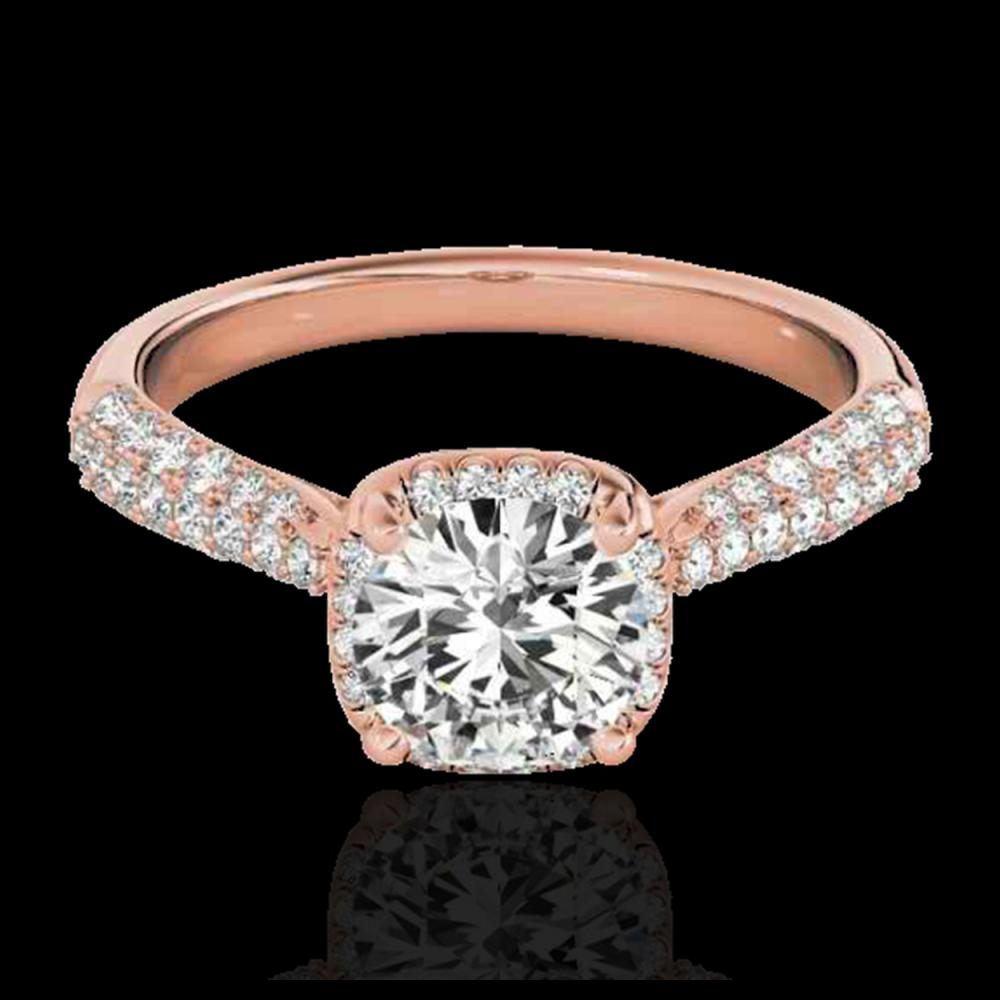 1.50 ctw H-SI/I Diamond Solitaire Halo Ring 10K Rose Gold - REF-190Y9X - SKU:33259