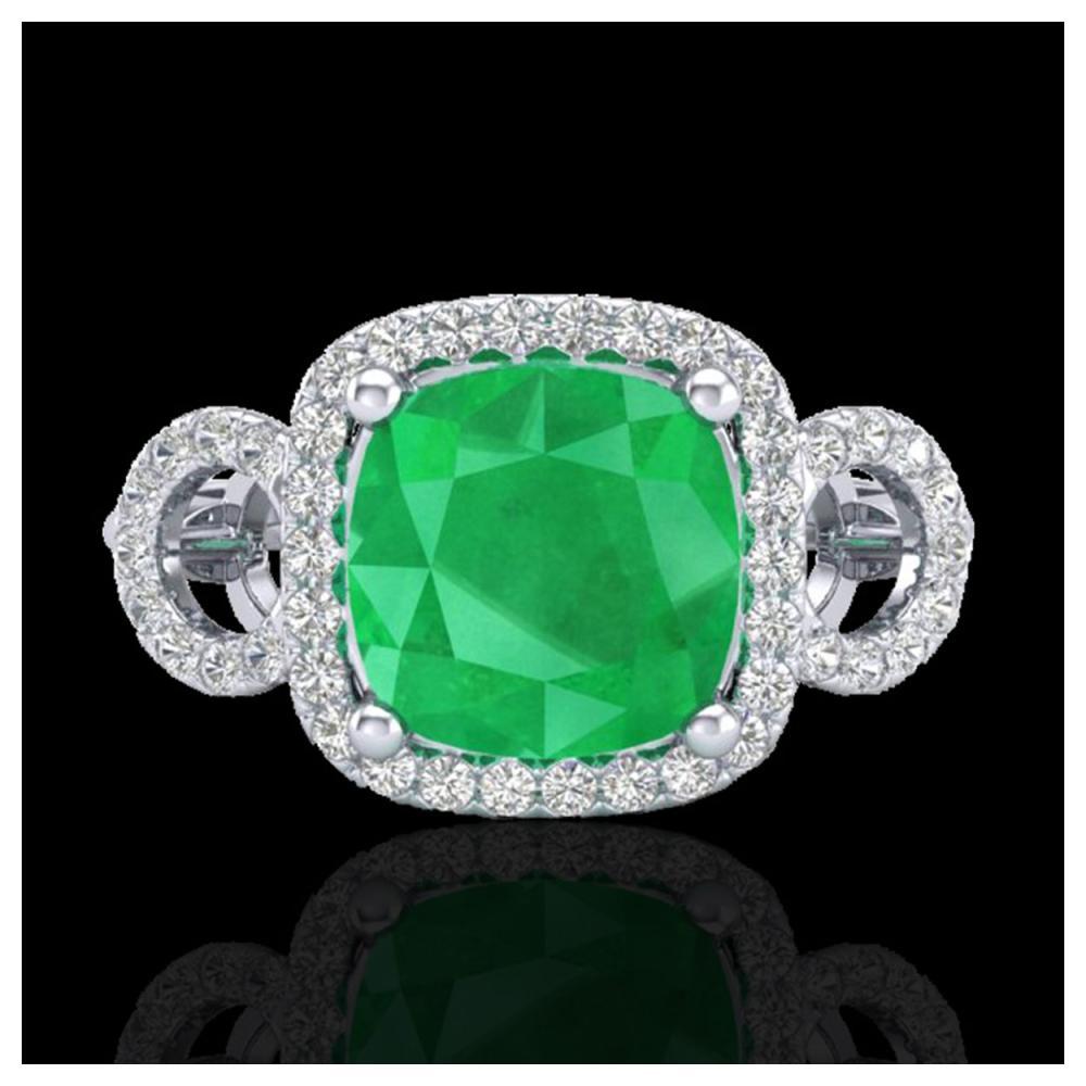 3.15 ctw Emerald & VS/SI Diamond Ring 18K White Gold - REF-70W9H - SKU:23001