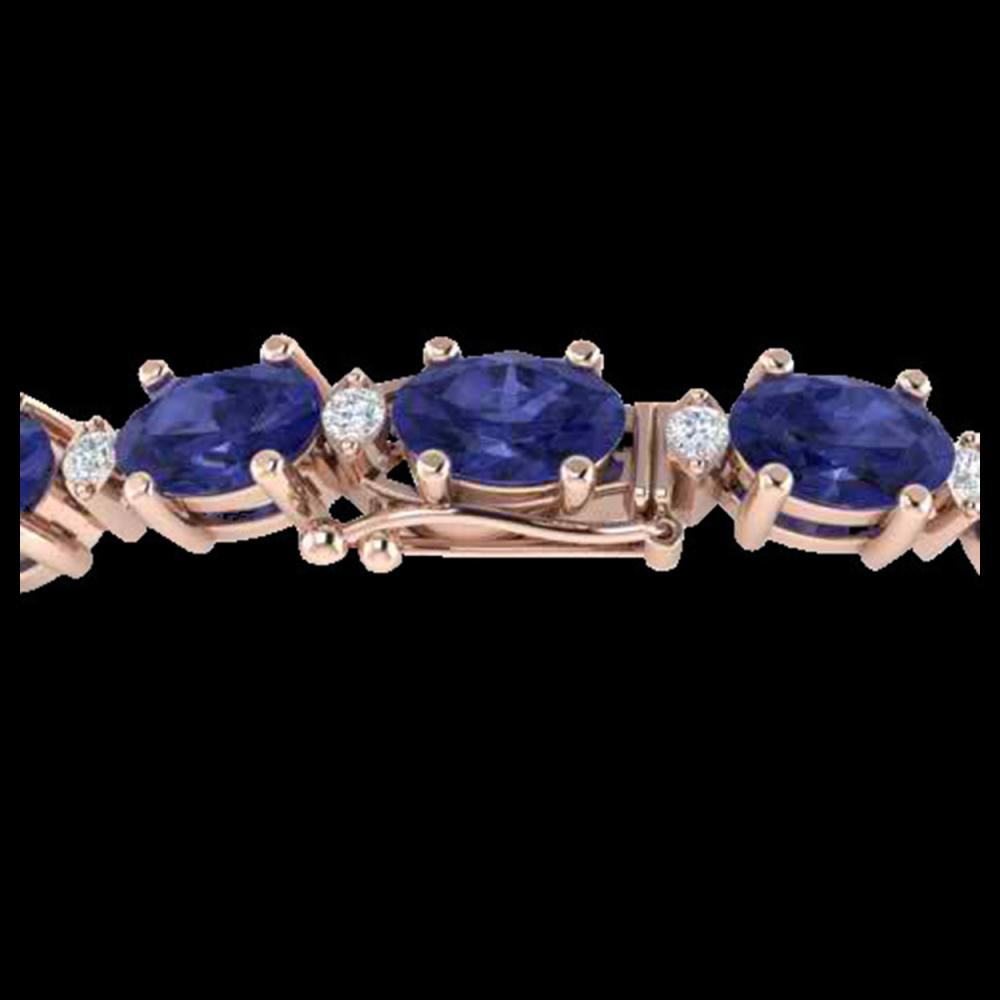 26.3 ctw Tanzanite & VS/SI Diamond Eternity Bracelet 10K Rose Gold - REF-345W5H - SKU:29464