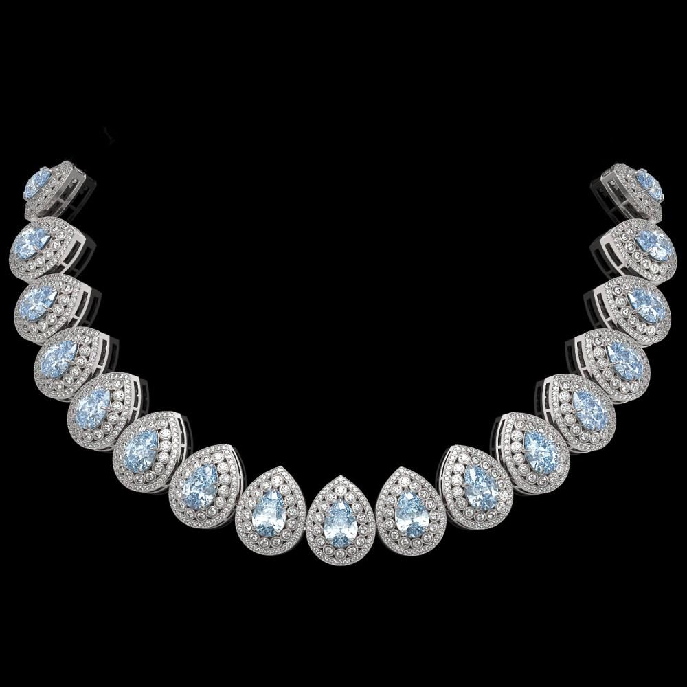 92.83 ctw Aquamarine & Diamond Necklace 14K White Gold - REF-3851X5R - SKU:43238