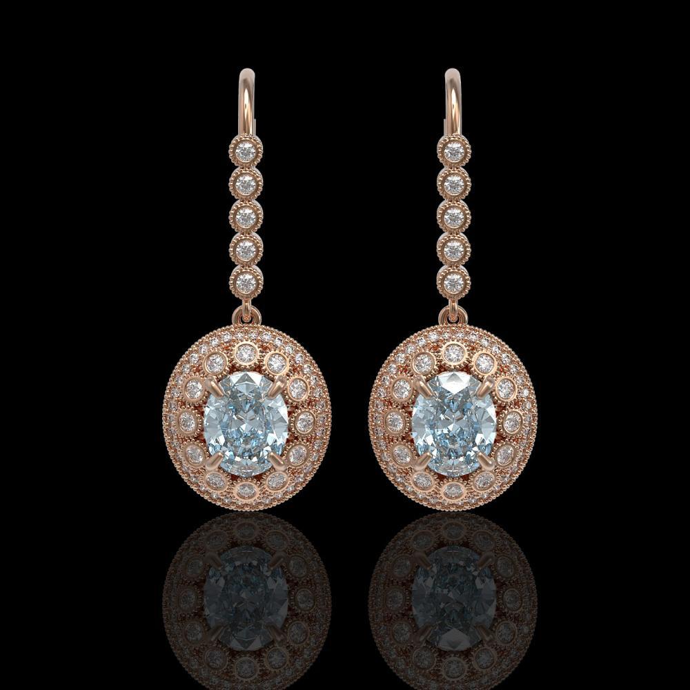 7.65 ctw Aquamarine & Diamond Earrings 14K Rose Gold - REF-250R5K - SKU:43614
