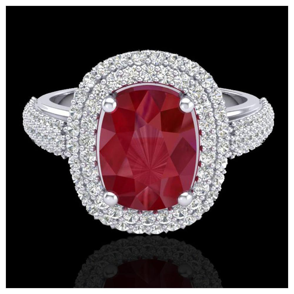 3.50 ctw Ruby & VS/SI Diamond Ring 18K White Gold - REF-143F6N - SKU:20721
