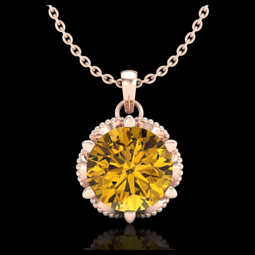 1.36 ctw Intense Fancy Yellow Diamond Art Deco Necklace 18K Rose Gold - REF-272W7H - SKU:38107