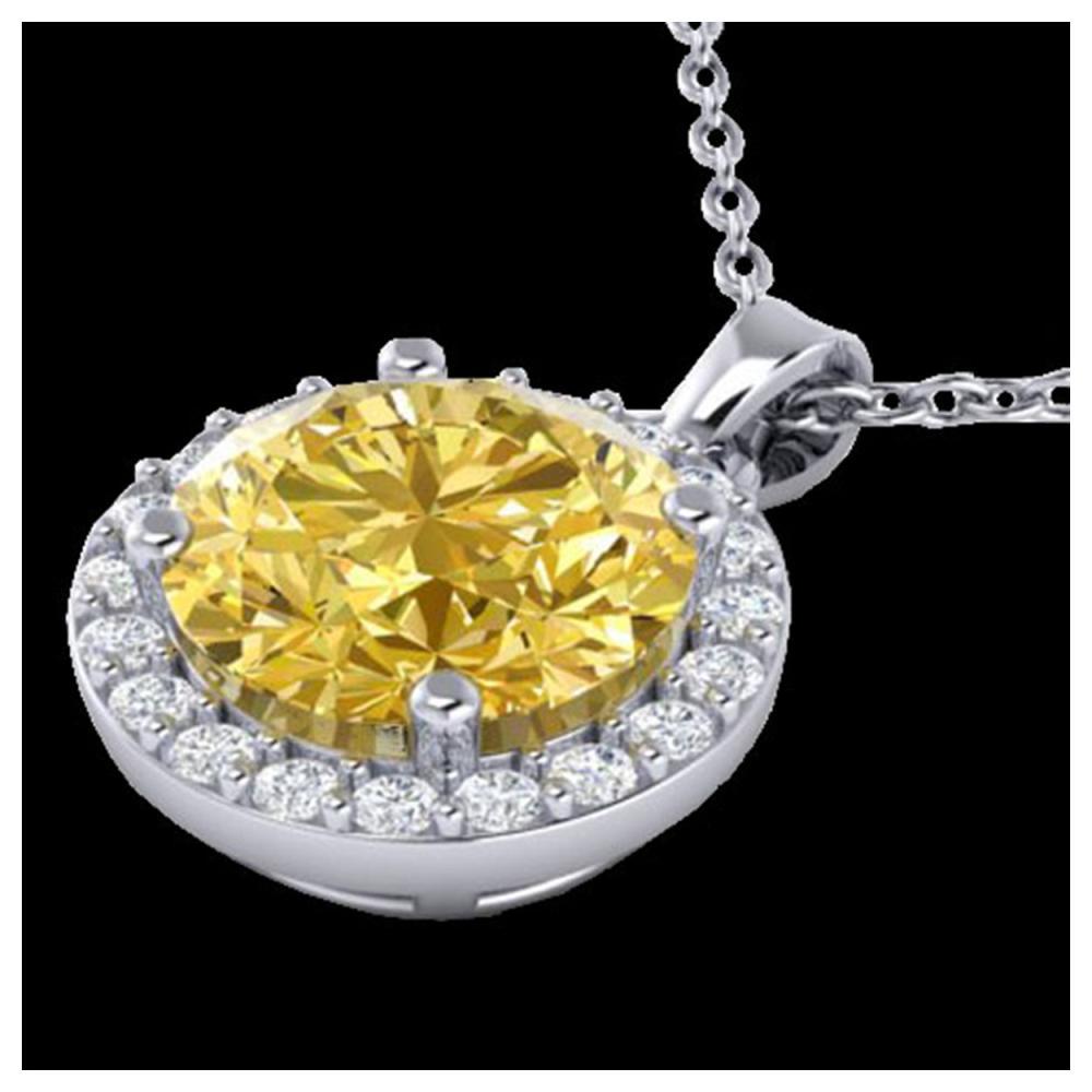 2 ctw Citrine & Halo VS/SI Diamond Necklace 18K White Gold - REF-41Y3X - SKU:21558