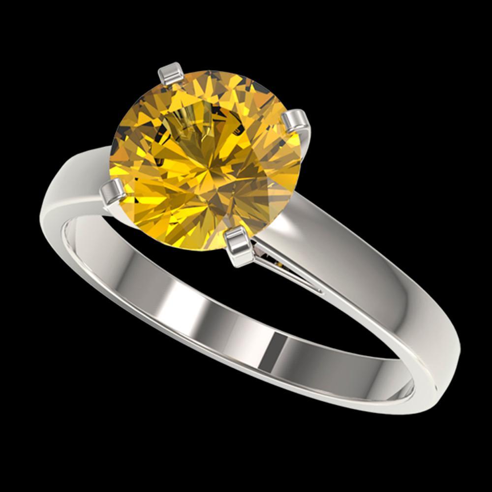 2.50 ctw Intense Yellow Diamond Solitaire Ring 10K White Gold - REF-690Y2X - SKU:33047