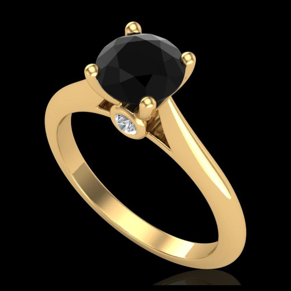 1.36 ctw Fancy Black Diamond Art Deco Ring 18K Yellow Gold - REF-89W3H - SKU:38208