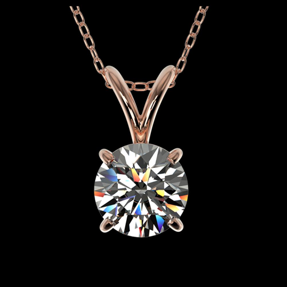 0.72 ctw H-SI/I Diamond Solitaire Necklace 10K Rose Gold - REF-88H5M - SKU:36737