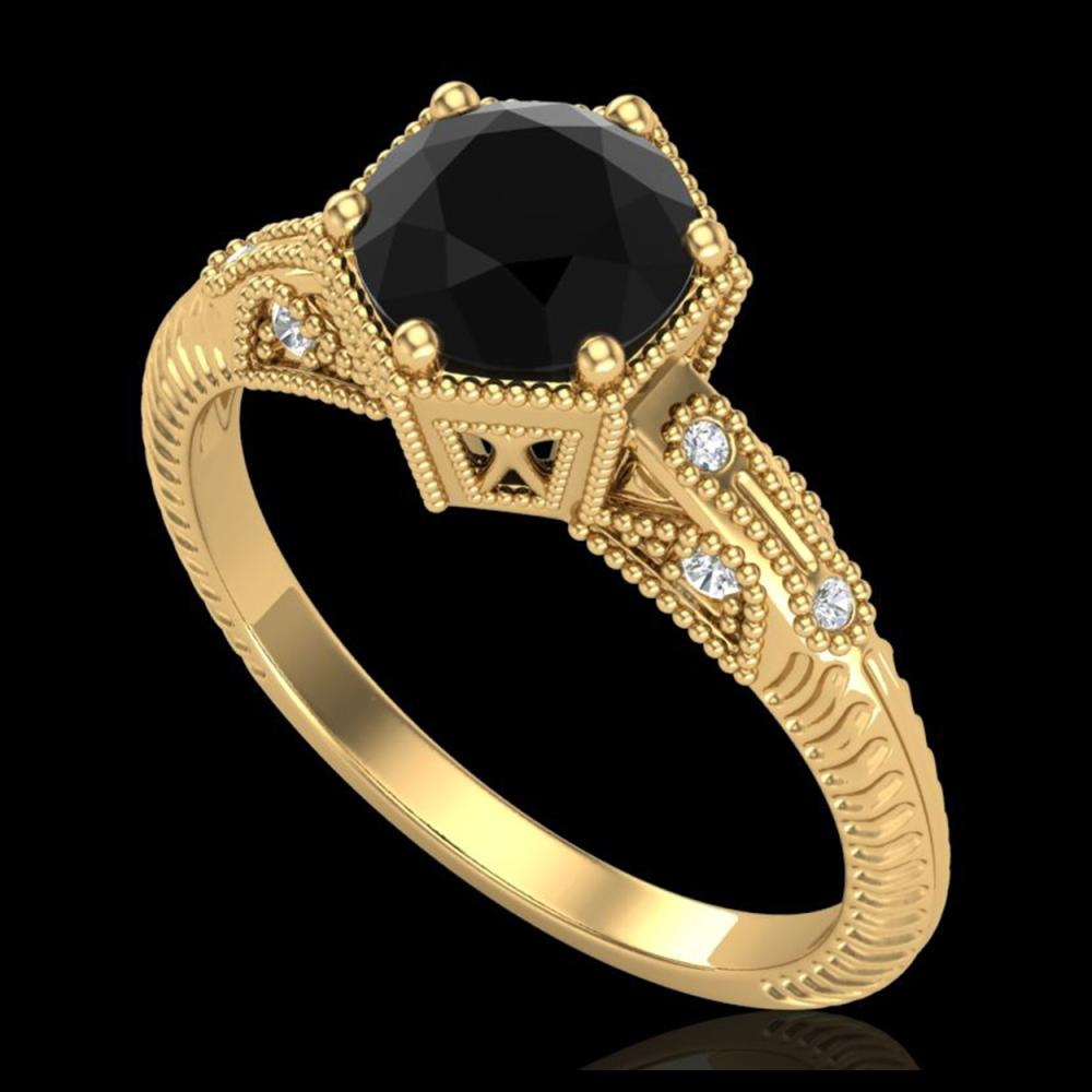 1.17 ctw Fancy Black Diamond Art Deco Ring 18K Yellow Gold - REF-85R5K - SKU:38033