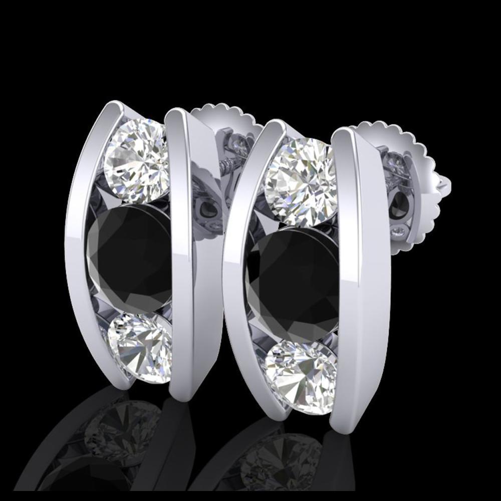 2.18 ctw Fancy Black Diamond Art Deco Stud Earrings 18K White Gold - REF-180Y2X - SKU:37765