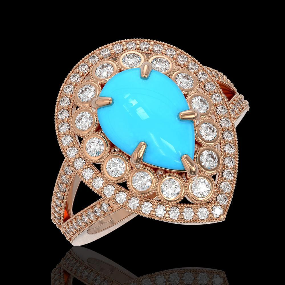 4.02 ctw Turquoise & Diamond Ring 14K Rose Gold - REF-134M4F - SKU:46141