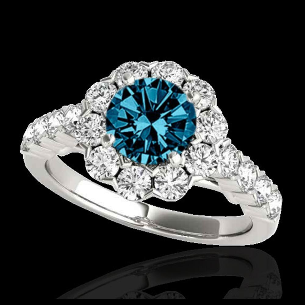 3 ctw SI Fancy Blue Diamond Solitaire Halo Ring 10K White Gold - REF-222X7R - SKU:33558