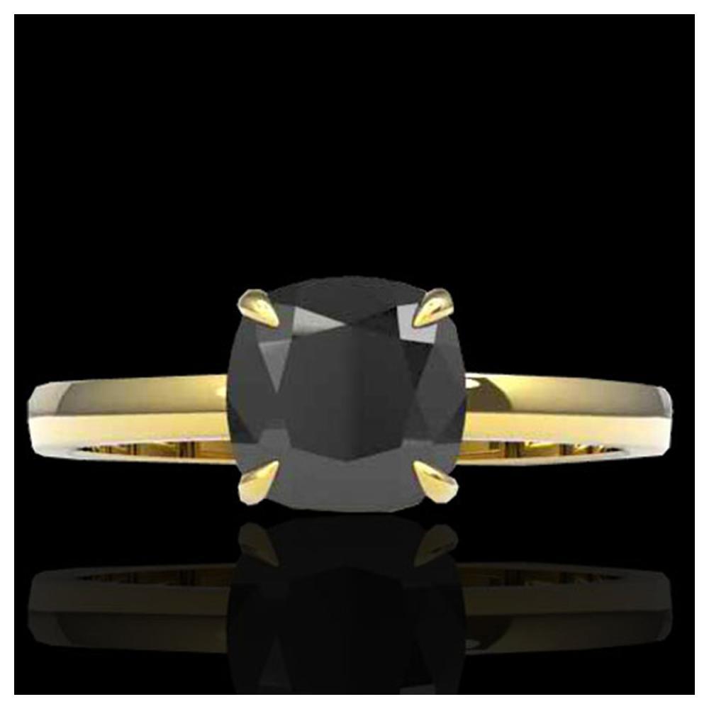 3 ctw Cushion Cut Black VS/SI Diamond Ring 18K Yellow Gold - REF-107Y3X - SKU:22136