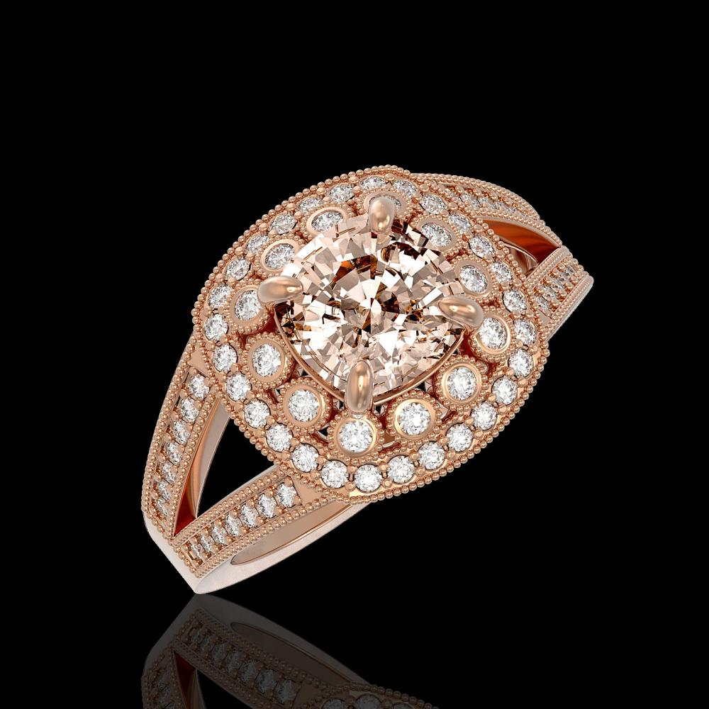 2.29 ctw Morganite & Diamond Ring 14K Rose Gold - REF-112M2F - SKU:44046
