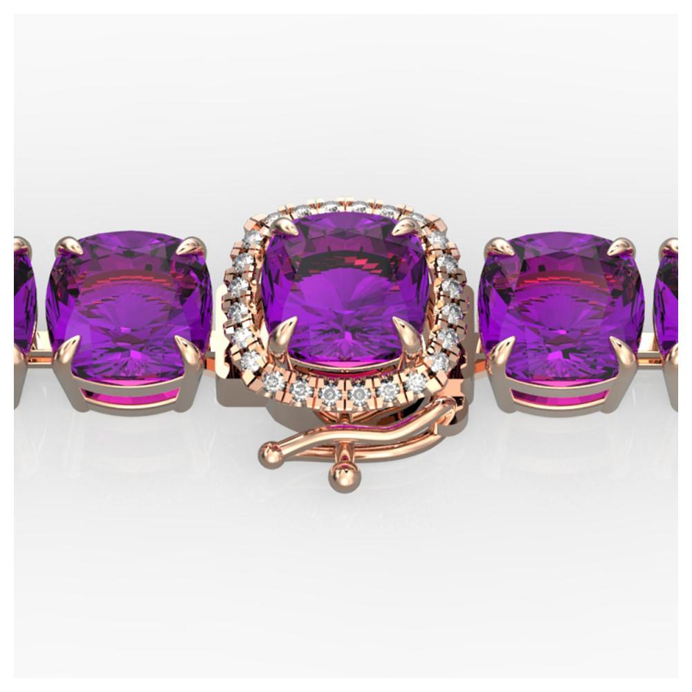 46 ctw Amethyst & VS/SI Diamond Bracelet 14K Rose Gold - REF-157F3N - SKU:23297