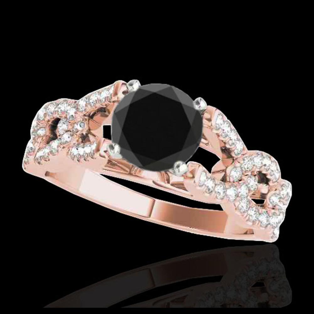 1.50 ctw VS Black Diamond Solitaire Ring 10K Rose Gold - REF-58H8M - SKU:35218