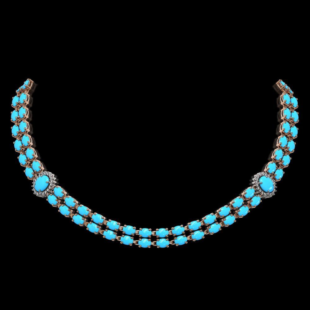 29.16 ctw Turquoise & Diamond Necklace 14K Rose Gold - REF-371H5M - SKU:44220