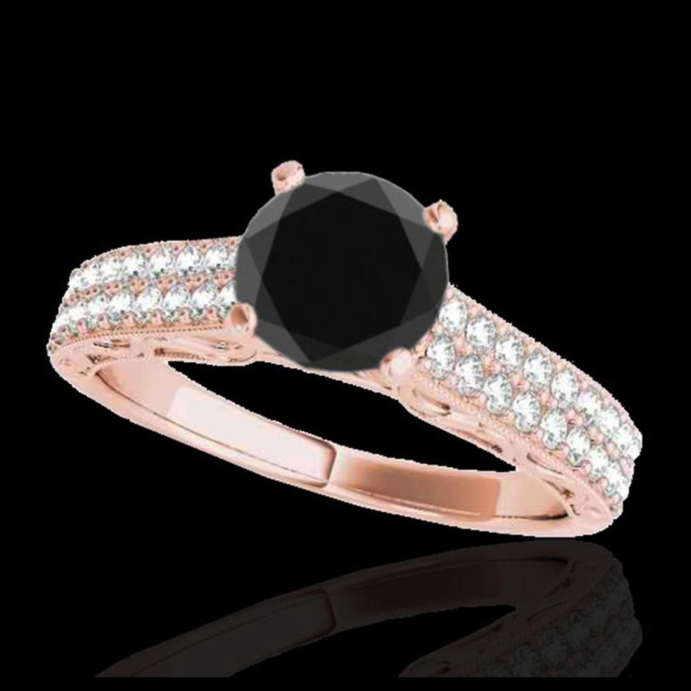 1.91 ctw VS Black Diamond Solitaire Ring 10K Rose Gold - REF-53N2A - SKU:34706