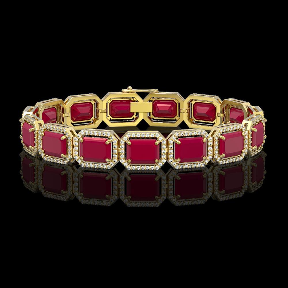 38.61 ctw Ruby & Diamond Halo Bracelet 10K Yellow Gold - REF-424R5K - SKU:41527