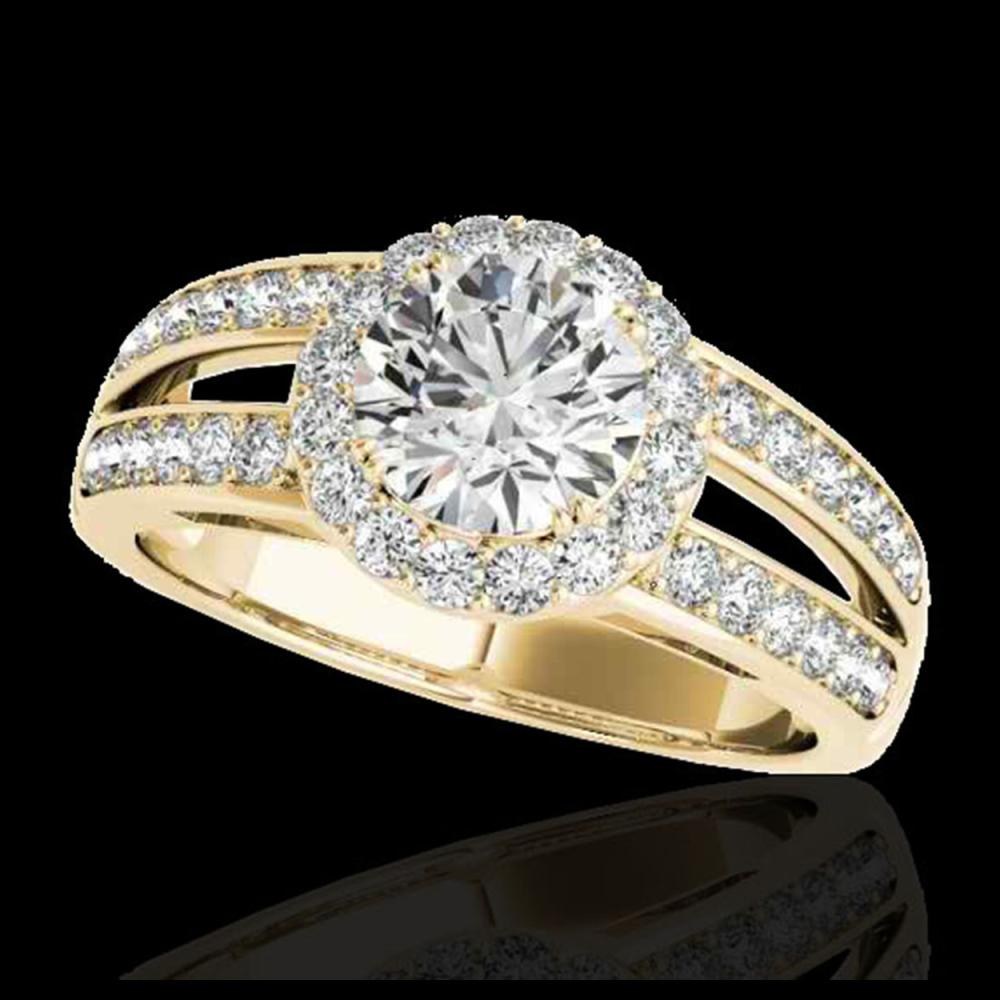 1.60 ctw H-SI/I Diamond Solitaire Halo Ring 10K Yellow Gold - REF-135M2F - SKU:34249