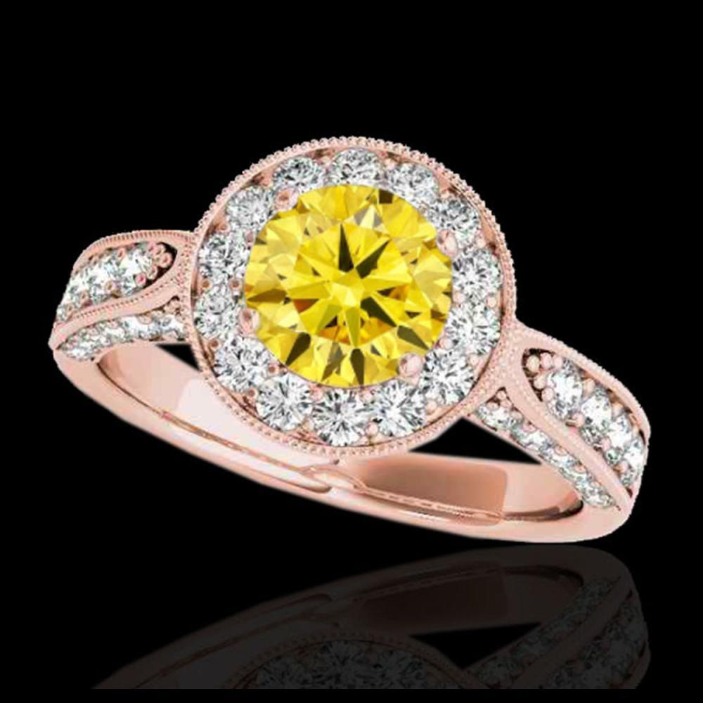 2 ctw SI/I Fancy Intense Yellow Diamond Halo Ring 10K Rose Gold - REF-225F2N - SKU:34503