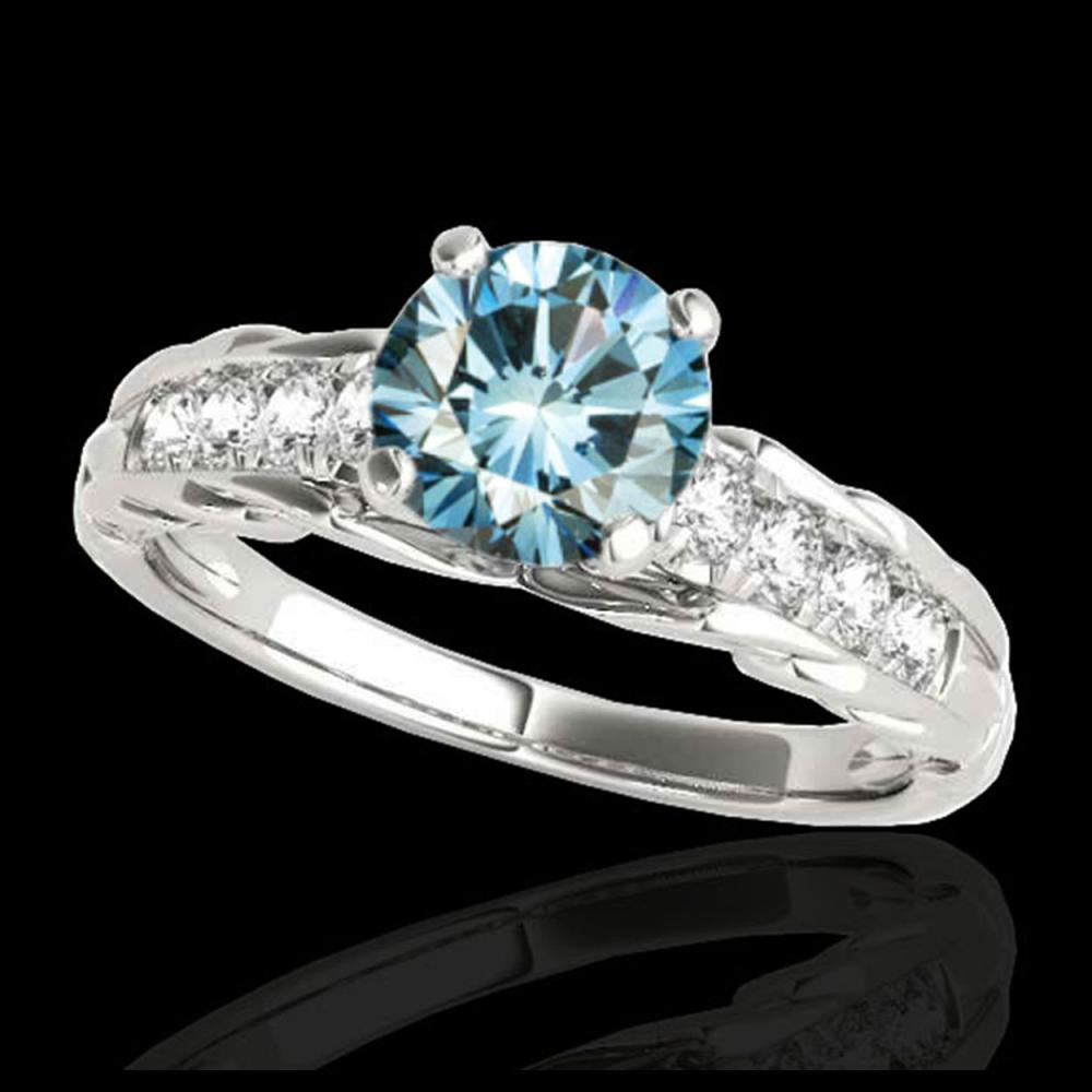 1.20 ctw SI Fancy Blue Diamond Solitaire Ring 10K White Gold - REF-118W6H - SKU:34939