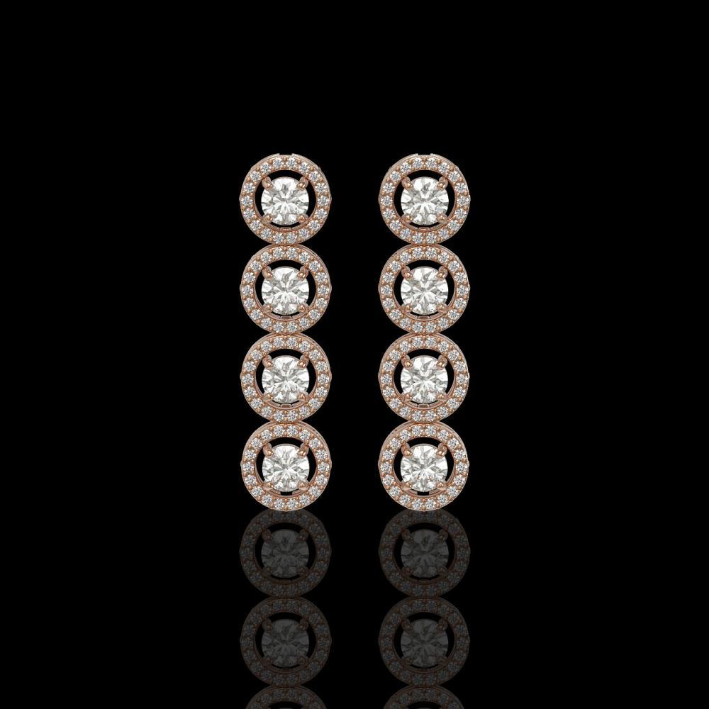 3.84 ctw Diamond Earrings 18K Rose Gold - REF-304K8W - SKU:42873