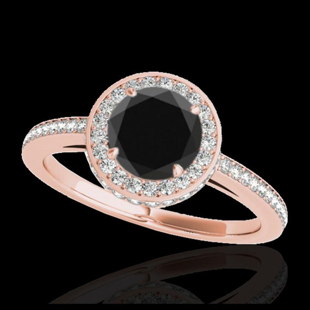 1.55 ctw VS Black Diamond Solitaire Halo Ring 10K Rose Gold - REF-65N2A - SKU:34278