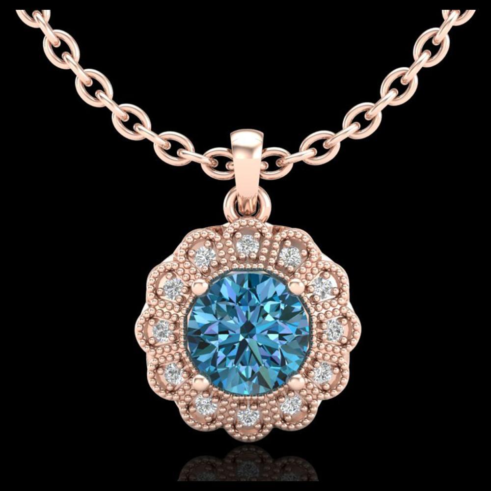 1.15 ctw Fancy Intense Blue Diamond Art Deco Necklace 18K Rose Gold - REF-218M2F - SKU:37846