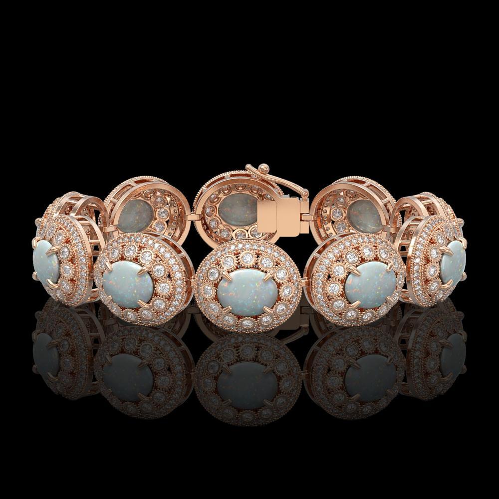 40.37 ctw Opal & Diamond Bracelet 14K Rose Gold - REF-1402X4R - SKU:43728