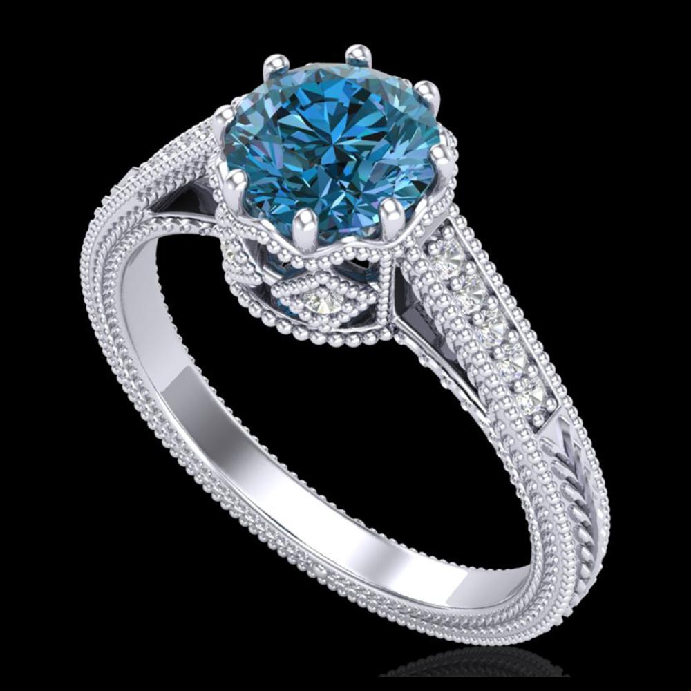 1.25 ctw Fancy Intense Blue Diamond Art Deco Ring 18K White Gold - REF-218R2K - SKU:37523