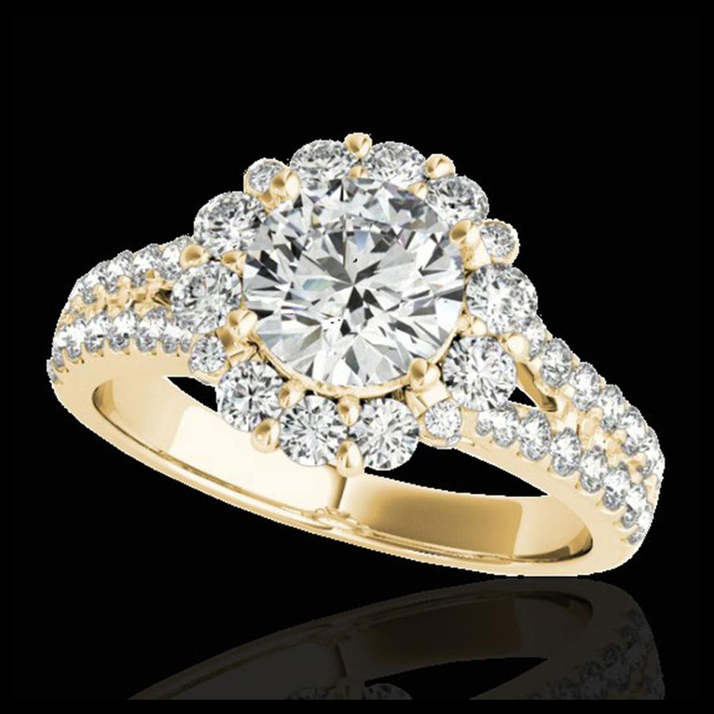 2.51 ctw H-SI/I Diamond Solitaire Halo Ring 10K Yellow Gold - REF-347A7V - SKU:33942