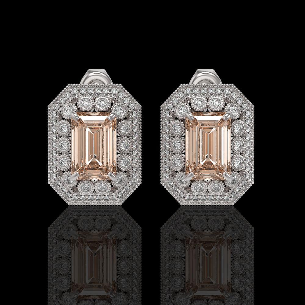 11.69 ctw Morganite & Diamond Earrings 14K White Gold - REF-381F5N - SKU:43433