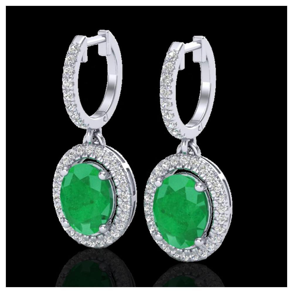 4.25 ctw Emerald & VS/SI Diamond Earrings 18K White Gold - REF-112M7F - SKU:20322